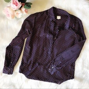 JCREW Navy And Red Polka Dot Button Down Blouse